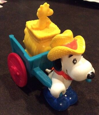 1989 Vintage Snoopy, Woodstock & Cart