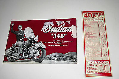 "Indian Motorcycles 1948 12-Page Brochure~Indian ""348"" & ""348 Clubman""~1200cc"