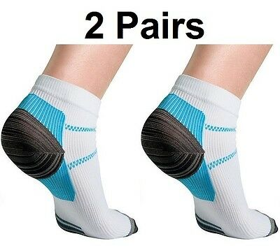Compression Socks Running Arch Support Plantar Ankle Mens Womens (S-XL) 2 Pairs