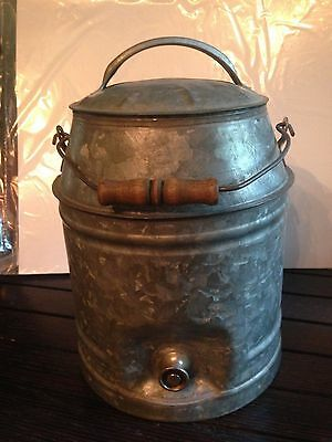 Antique Ice Water Primitive Cooler, with Metallic/ Wood Handle (Tested!)