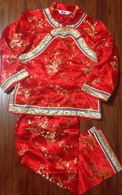 AUTHENTIC  CHINESE RED/GOLD CHILDRENS Size 10 SILK 2 Piece  Outfit Costume