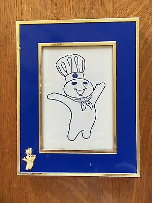 "Rare Pilllsbury Doughboy Arms Up Figure 5"" x 7"" Metal Picture Frame"