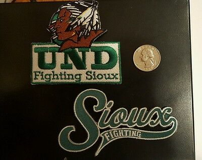 (2) UND University of North Dakota Fighting Sioux  iron on embroidered patch