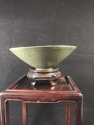 Stunning Chinese Song Style Yaozhou Kiln Hand Curved Celadon Lotus Tea Bowl