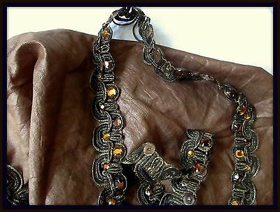 Gorgeous Antique Vintage Fine Gilted Metal Scalloped Amber Glass Rhinestone Trim