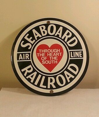 Reproduction Seaboard Railroad ( Airline ) Metal Sign 9 inches round.