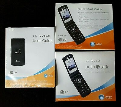 LG CU515 Manual User Guide AT&T English & Spanish Cell Phone 3 Manuals 2007