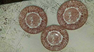 3 Salad Plates in English Scenery Pink by Wood & Sons