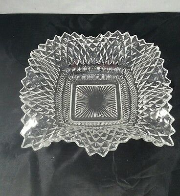 Vintage 6 1/2 inch Squared Pressed Glass Dish with Ruffled Edge