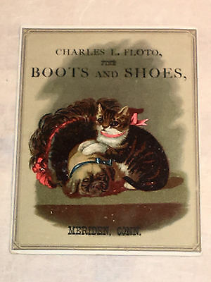 Victorian Era Trade Card Charles L. Floto Fine Boots and Shoes  Meriden, Conn.