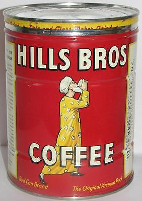 Vtg 1952 Full Key Wind Coffee Tin Org Lid -2 Pound Hills Bros.red Can Brand-Nice