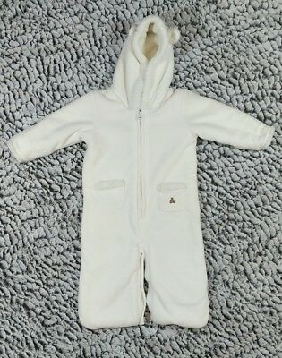 GAP Baby Boys / Girls 0-6 Months White Sherpa Convertible One-Piece Bunting Coat