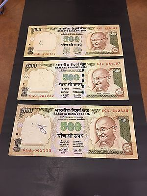 India  3 X 500 Rupees Note