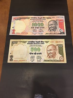 India 500 & 1000 Rupees Notes . No Date