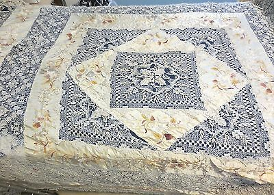 Embroidered Silk And Handmade Lace Antique Bed Cover  Bedspread 66 x 68