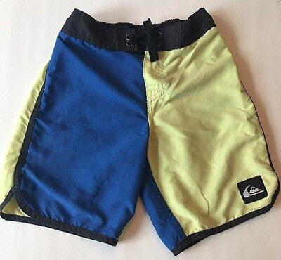 Boys Quiksilver Board Shorts.  Blue And Yellow Color Block. Size 5 (M). VGUC!