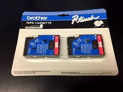Brother P-Touch TC-21 Red on White Label Tape Cassette 2 Pack BRAND NEW!