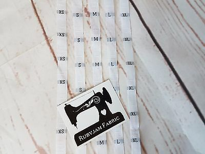 100 pack XS S M L XL size clothing labels WHITE sew in woven tags FREE POST AU