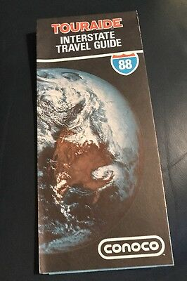 Conoco Touraide Interstate Travel Guide 1988 Fold Up Map 1988