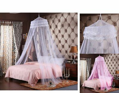 Full Size Round Lace Mesh Curtain Dome Bed Canopy Netting Princess Mosquito Net