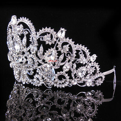 8cm High Flower Drip Crystal Wedding Bridal Party Pageant Prom Tiara Crown Combs