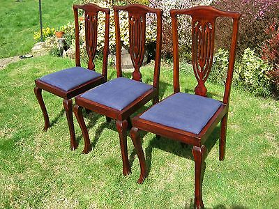 Edwardian Dining Chairs with Pierced Vase Slat Backs - set of 3