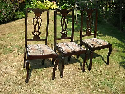 Edwardian Dining Chairs with Cabriole Legs and Drop in Seats - Set of 3