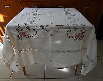 Vintage Machine Embroidered Cross Stitch And Crochet Linen Tablecloth