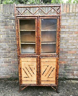 Lacquered Tortoiseshell Bamboo Bookcase Display Cabinet