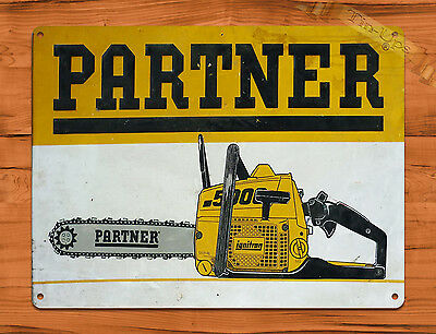 "TIN-UPS TIN SIGN ""Partner Chain Saws"" Tool Garage Rustic Wall Decor"