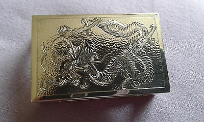 Beautiful Chinese Export  Silver Match Box Cover/Holder marked sterling