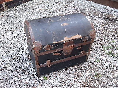 Antique Traveling Domed Trunk with original stickers GWR , leather straps,etc