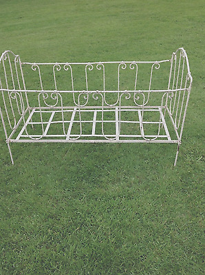 Vintage French Antique Painted Iron Shabby Chic Day Bed / Sofa / Cot / Bench vgc