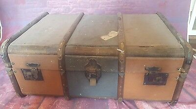 Vintage Wooden Travel Trunk Suitcase Coffee Table Blanket Toy Box Storage