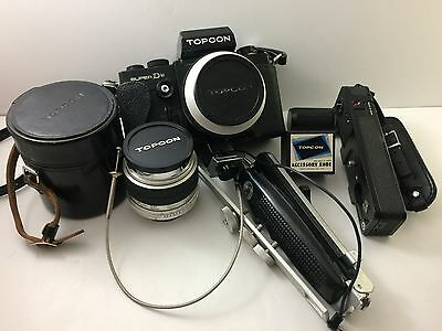 Vintage Topcon Super DM Black Classic Camera with Topcor 28mm/58mm 2 x Lens lot
