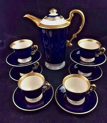 Syracuse China QUEEN ANNE Cobalt Blue Gold Coffee Pot & 6 Demitasse Cups Saucers