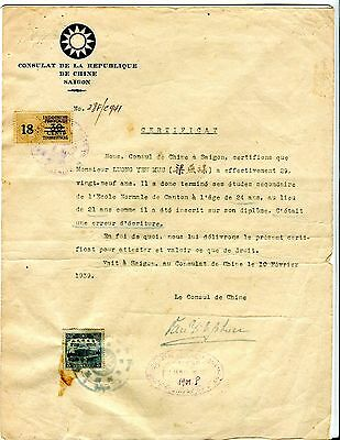 1941 CHINA Consulate At Saigon Issued Certficate with 2 Countries Consular Stamp