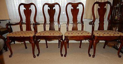 4 VINTAGE QUEEN ANNE STYLE CARVER /DINING CHAIRS Made by Thomasville