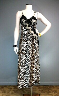 Vtg 70s 80s Frederick's Of Hollywood Black Lace Leopard Slit Maxi Night Gown