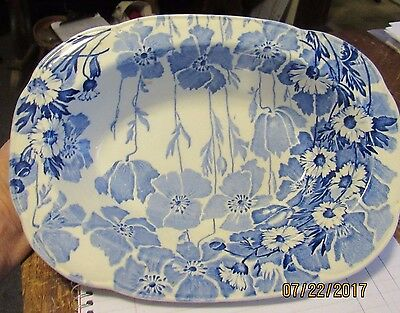 "Gay Day blue floral oval 9"" bowl by Wood & Son - England"