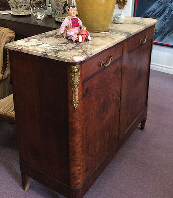 Beautiful Louis XVI Marble Topped Burl Inlaid Buffet Directoire