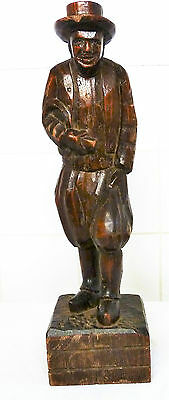 French Antique Carved Breton Wood Figure / Table Leg Farmer with Scythe Treen