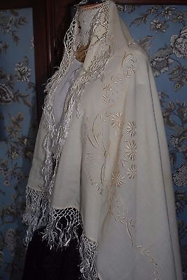 "Lovely Silk Floral Design Embroidered Antique Small 51"" Square Shawl/Runner a/f"