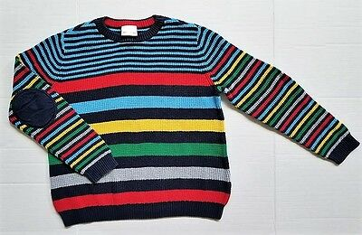 HANNA ANDERSSON Boy Size 150 12 Striped Knit Elbow Patch Sweater Navy Red Green