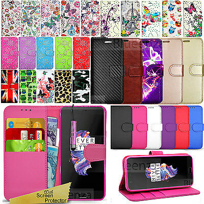 For OnePlus 5 A5000 - Wallet Leather Case Flip Book Cover + Screen Protector