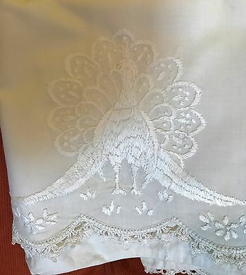 Antique Embroidered Peacock Pillow Case Set Crocheted Borders As Is