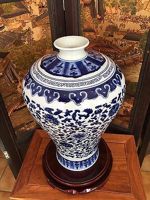 48CM Reproduced Chinese Antique Blue-and-white Vase Hand-painted Flowers