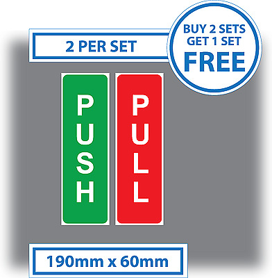 Push and Pull Door Window Stickers Vinyl Warning 190mm x 60mm green and red sign