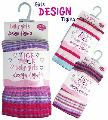 New Baby Girls Cotton Rich Patterned Winter Knitted Tights by Tick Tock