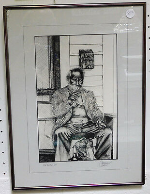 Wonderful Ltd Ed Copper Plate Etching of BLACK MAN on Porch by CATHERINE COLSHER